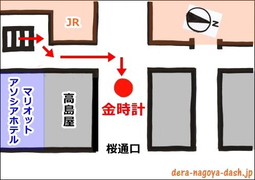 近鉄名古屋駅から金時計の行き方(イラスト地図)02