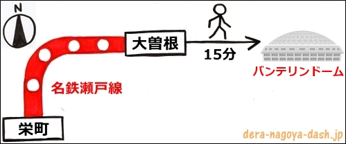 栄駅からバンテリンドームナゴヤへの行き方(名鉄電車)