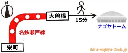 栄駅からナゴヤドームへの行き方(名鉄電車)