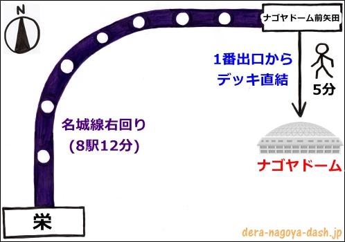 栄駅からナゴヤドームへの行き方(地下鉄)