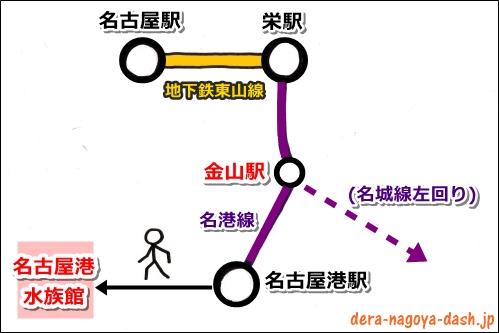 名古屋駅から名古屋港水族館への地下鉄(電車)での行き方(金山駅乗換)